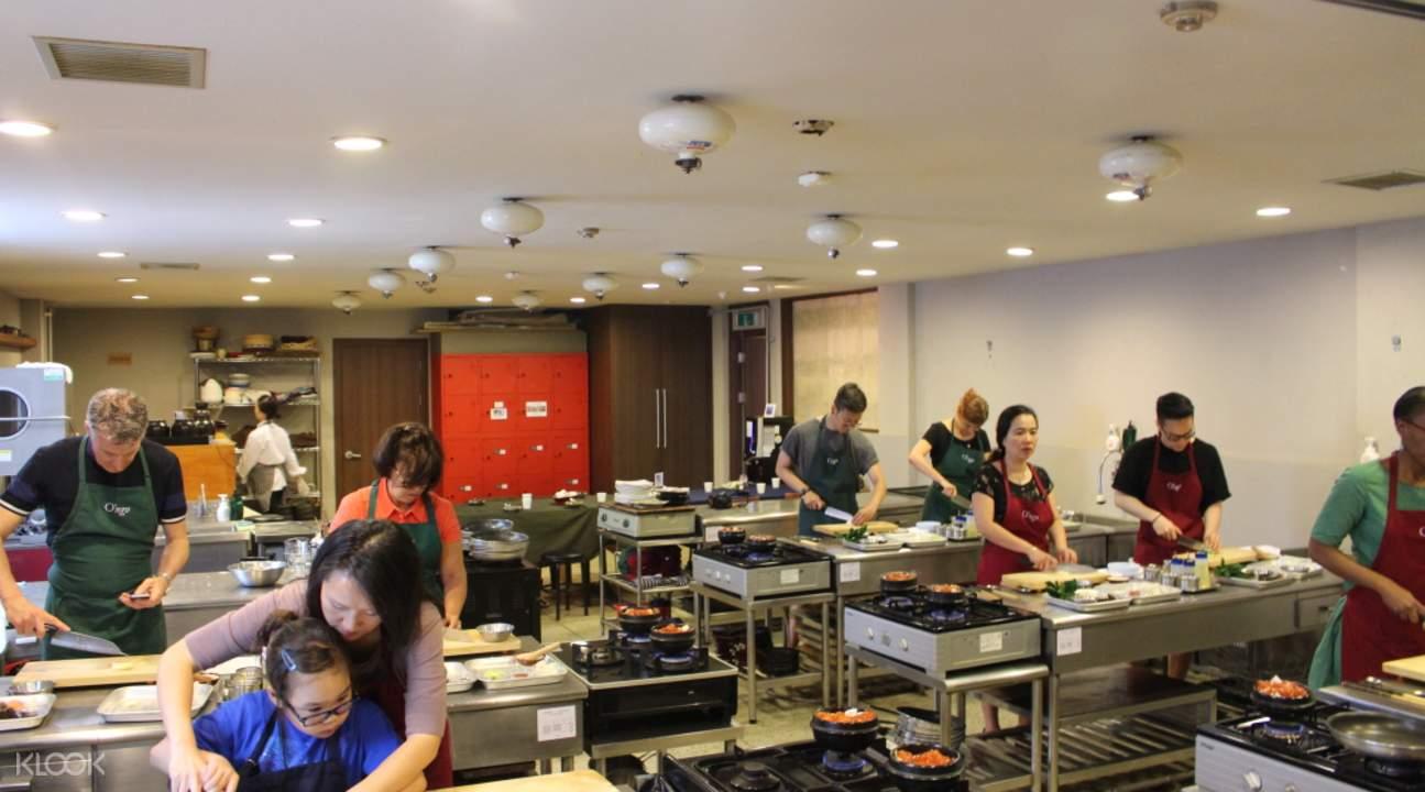 Seoul cooking school kitchen